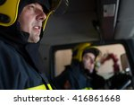firemans on duty under ehposed... | Shutterstock . vector #416861668