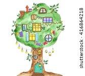 watercolor fairytale oak with...   Shutterstock .eps vector #416864218