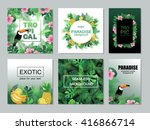 tropical cards collection. ... | Shutterstock .eps vector #416866714