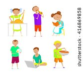 kids eating  cooking  cleaning  ... | Shutterstock .eps vector #416869858