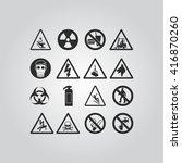 warning hazard symbols set | Shutterstock .eps vector #416870260