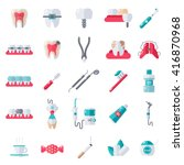 dental flat icons set. vector... | Shutterstock .eps vector #416870968