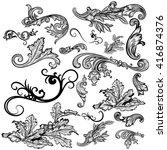 collection of vector swirl... | Shutterstock .eps vector #416874376