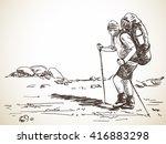 sketch of man trekking with big ... | Shutterstock .eps vector #416883298