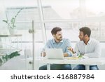 handsome two colleagues are... | Shutterstock . vector #416887984