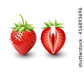 red berry strawberry and a half ... | Shutterstock .eps vector #416893696