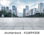 Empty Marble Floor Cityscape Skyline - Fine Art prints