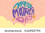 happy mother's day on pink... | Shutterstock . vector #416900794