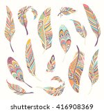 rustic ethnic decorative... | Shutterstock .eps vector #416908369
