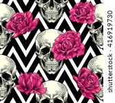 Skull And Pink Roses On A...