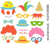 clown set. party funnyman... | Shutterstock .eps vector #416928088