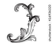 vintage baroque frame scroll... | Shutterstock .eps vector #416936320