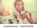 pretty young woman doing selfie ... | Shutterstock . vector #416941696