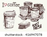 hand drawn coffee set | Shutterstock .eps vector #416947078