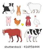 farm animals set   Shutterstock .eps vector #416956444
