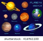 planets of the solar system.... | Shutterstock .eps vector #416961100