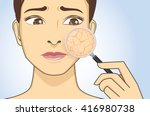 zoom in facial with magnifier... | Shutterstock .eps vector #416980738