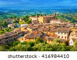 san gimignano medieval town ... | Shutterstock . vector #416984410
