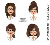 Vector Set Of Hair Styles And...