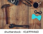 top view image of fathers day...   Shutterstock . vector #416994460