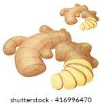 ginger root illustration.... | Shutterstock .eps vector #416996470