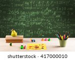 a stuffed school desk with... | Shutterstock . vector #417000010