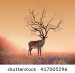 conceptual deer stag   a dry... | Shutterstock . vector #417005296