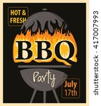 banner bbq party with barbecues ...   Shutterstock .eps vector #417007993