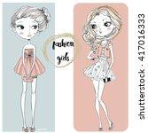 cute cartoon hipster girls | Shutterstock .eps vector #417016333