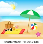 illustrated vector beach picture | Shutterstock .eps vector #417019138