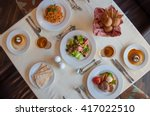 formal table setting in the... | Shutterstock . vector #417022510