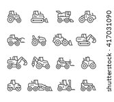 set line icons of tractors | Shutterstock .eps vector #417031090