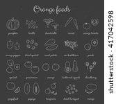 hand drawn outline orange... | Shutterstock .eps vector #417042598