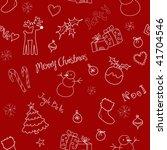christmas doodles. seamless... | Shutterstock .eps vector #41704546