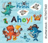 ahoy. pirate illustration with... | Shutterstock .eps vector #417047560