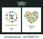 save the date cards  wedding... | Shutterstock .eps vector #417049174