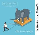 isometic businessman pull...   Shutterstock .eps vector #417064480