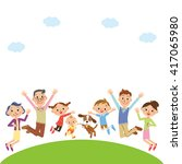 cheerful three generation family | Shutterstock .eps vector #417065980