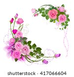 The corners of the border in the form of a bouquet of roses. Flower arrangement of pink roses.