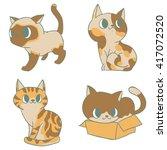 cute cat cartoon set  | Shutterstock .eps vector #417072520