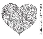 heart on flowers for coloring... | Shutterstock .eps vector #417078034