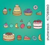 set of colorful tasty cakes ... | Shutterstock .eps vector #417080860