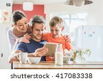 dad  mom and their eight year... | Shutterstock . vector #417083338