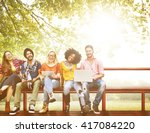 group of students friends... | Shutterstock . vector #417084220