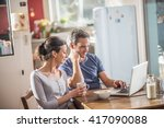 nice thirty year couple using a ... | Shutterstock . vector #417090088