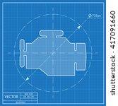 blueprint icon of engine  | Shutterstock .eps vector #417091660