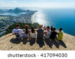 friends on top of morro dois... | Shutterstock . vector #417094030