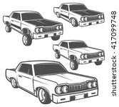 set of low rider cars low rider ... | Shutterstock .eps vector #417099748
