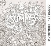 summer hand lettering and... | Shutterstock .eps vector #417103330