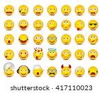 emoticons. big set on white... | Shutterstock .eps vector #417110023